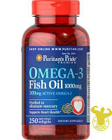 Жирные кислоты Puritan's Pride Omega-3 Fish Oil от Puritan's Pride  250 капсул