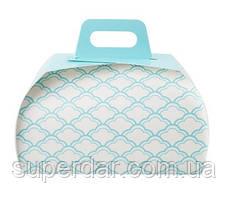 Коробка для макаронс 160×95×100 мм., біло-блакитна