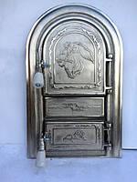 Дверцы чугунные для печи и барбекю Левенок хром овальные , дверки печные