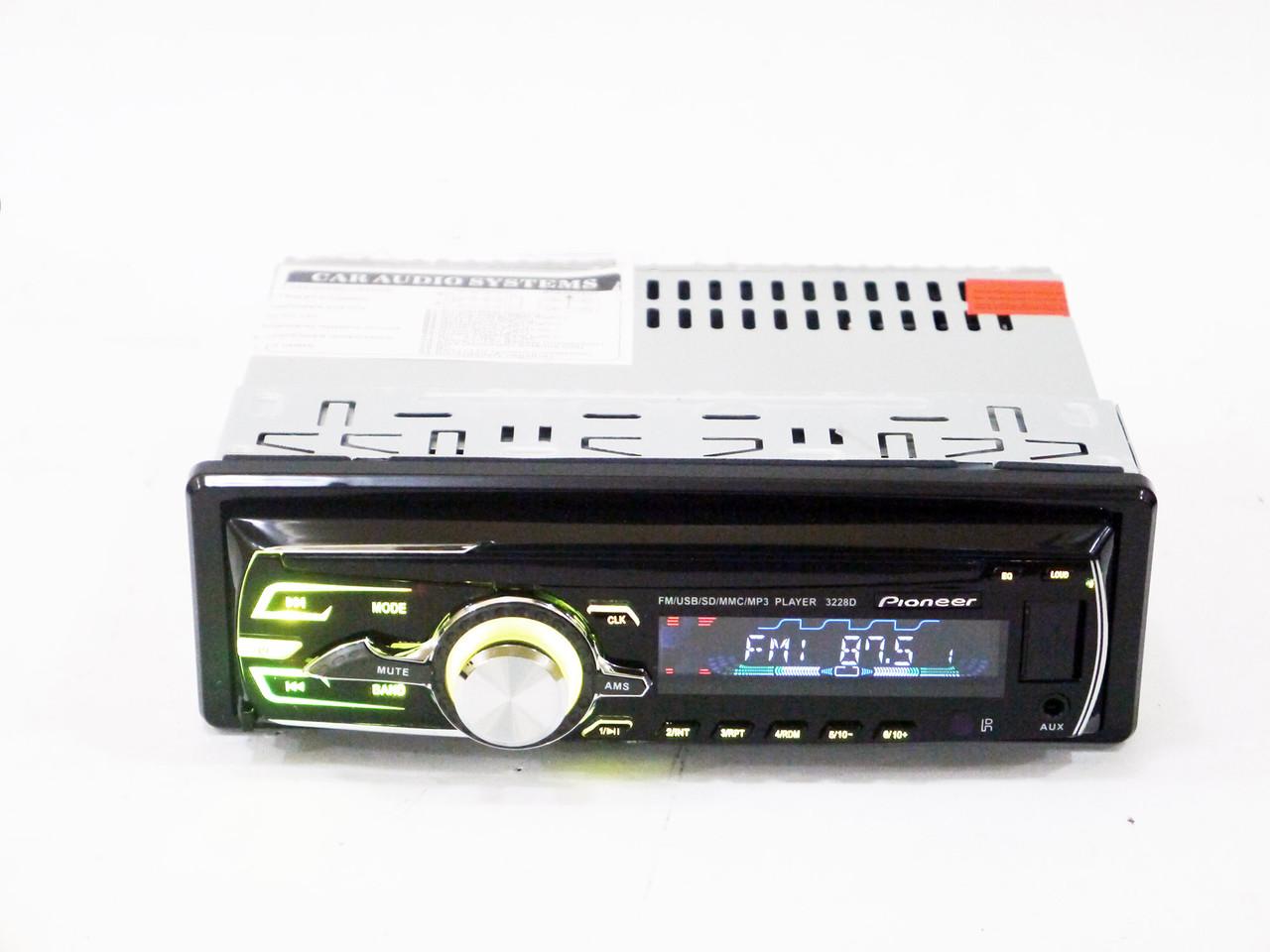 Автомагнитола Pioneer 3228D Usb+RGB подсветка+Fm+Aux+СЪЕМНАЯ ПАНЕЛЬ+ пульт (4x50W)