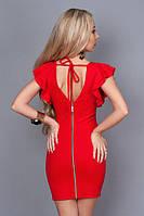 Нарядное платье с глубоким вырезом на спине,рукав-двойной волан р.44,46,48 красный