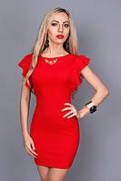 Нарядное платье с глубоким вырезом на спине,рукав-двойной волан р. 46 красный