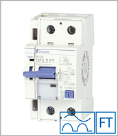 ПЗВ «DFS2 63-2/0,10-A FT» тип A, струм витоку 0,10А, ном.струм 63А