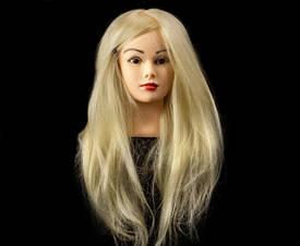 Учебный манекен для отработки причесок 100% натуральных волос, длина 75-80 см, Белый
