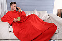 Флисовый плед с рукавами и карманом 180Х140 см красный