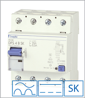 ПЗВ «DFS4 125-4/0,10-B SK» тип B, струм витоку 0,10А, ном.струм 125А