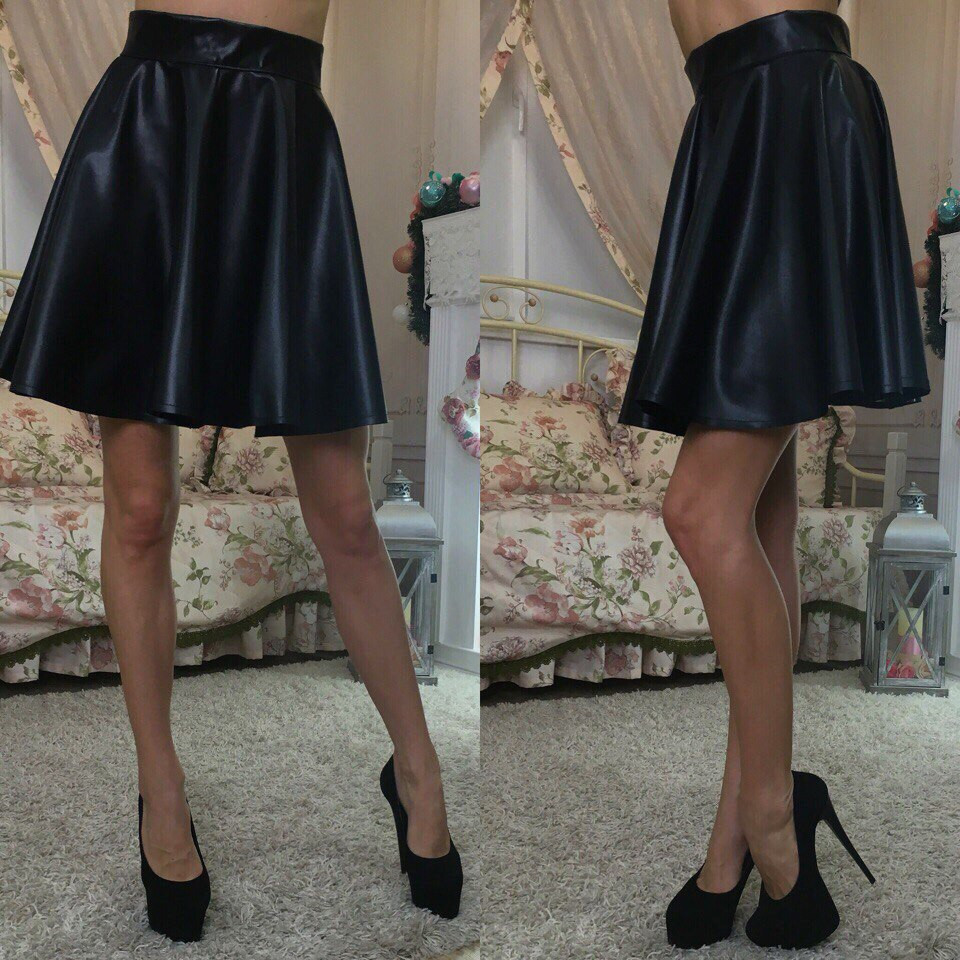 c50feca41a3 Стильная кожаная юбка клеш (2 цвета) - Леди Плюс в Одессе