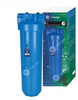 """20"""" Синий обновленный усиленный натрубный корпус фильтра типа """"Big Blue"""", подключение 1 1/2"""", спускной клапан,"""
