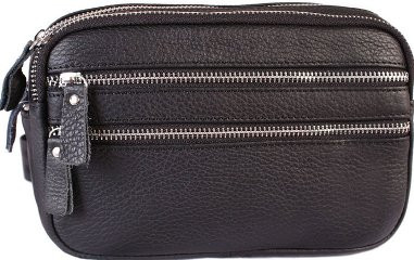 Отличная кожаная мужская сумка 30119, черная