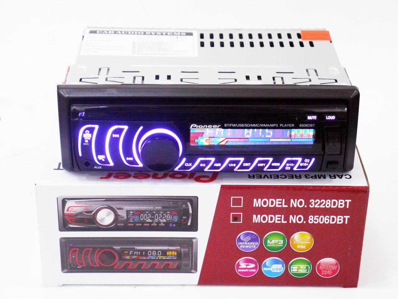 Автомагнітола Pioneer 8506DBT Bluetooth Usb+підсвітка RGB+Fm+Aux+знімна панель+ пульт (4x50W)