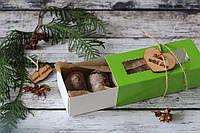 Шоколадное печенье в зеленой, приятной на ощупь коробочке (G4)