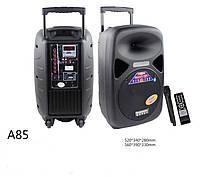 Аккумуляторная акустика А-85 с микрофоном Bluetooth FM-тюнер. Пульт ДУ.