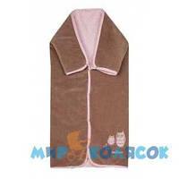WOMAR Конверт многофункциональный 90х90 (стриженный мех-велюр) розовый и коричневый (54901)