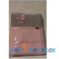 WOMAR Велюр конверт №4 ( стриженый мех) розовый и серый (54615)