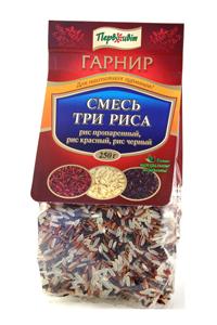 Гарнир Три риса (пропаренный, черный, красный) ТМ Первоцвіт, 250 г