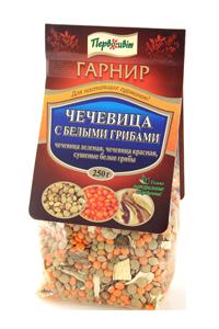 Гарнир Чечевица с белыми грибами ТМ Первоцвіт, 250 г