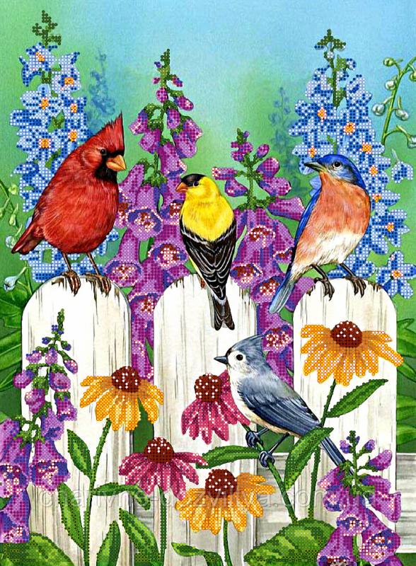 "Схема для вышивки бисером на атласе ""Птички на заборе"""