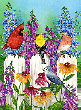 "Схема для вышивки бисером на атласе ""Птички на заборе"", фото 2"