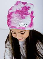 Детская шапка (двухсторонняя) КОСМО для девочек оптом размер 52 и 54