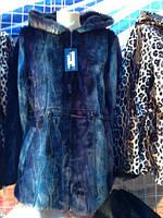 Женская куртка-пальто с капюшоном мех 48-54рр.  Батал