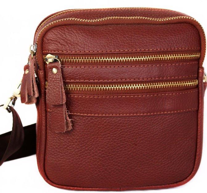 Кожаная мужская сумка 30109, красная