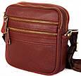 Кожаная мужская сумка 30109, красная, фото 4