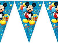 Гирлянда - вымпел, праздничная бумажная гирлянда  Микки (синие)