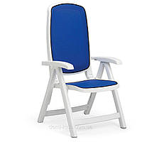 Кресло Delta белое, синий текстилен