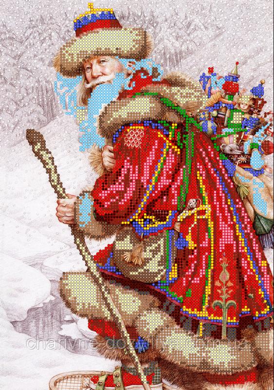 "Схема для вышивки бисером на атласе ""Дедушка мороз"""