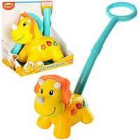 Детская каталка игрушка на палочке музыкальная Лев