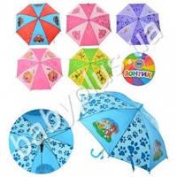 Зонтик детский, длина 49см, трость 61,5см, диам.78см, спица 44см, ткань, рисунок, 6 видов