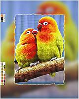 """Схема для вышивки бисером """"Папагаи"""", на холсте А3"""
