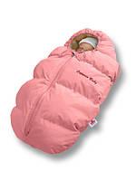 Пуховый конверт для новорожденного Baby Born на овчине розовый