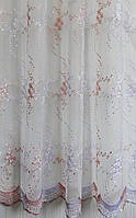 Гардинное полотно (вышивка на органзе) в-285  №512765