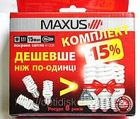 Комплект энергосберегающих ламп Maxus T2 Full spiral 15W, 4100K, E27 (3-ESL-200-1) 3шт.