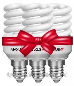 Комплект енергозберігаючих ламп Maxus T2 Slim full spiral 9W, 4100K, E27 (3-ESL-216-1)