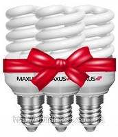 Комплект энергосберегающих ламп Maxus T2 Slim full spiral 9W, 4100K, E27 (3-ESL-216-1)