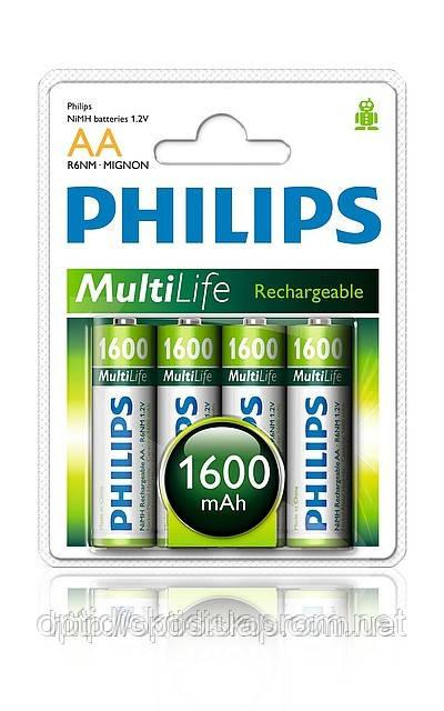 Акумуляторна батарея PHILIPS MultiLife Ni-MH R6 (1600mAh) 4шт.