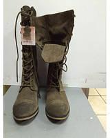 Ботинки женские замшевые длинные на шнурках цвета хаки Stradivarius