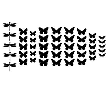 3d наклейки из картона 3Д декор набор Микс (бабочки стрекозы мотыльки) матовая картон Комплект 25 шт.