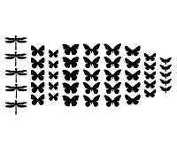 3d наклейки из картона 3Д декор набор Микс (бабочки, стрекозы, мотыльки)