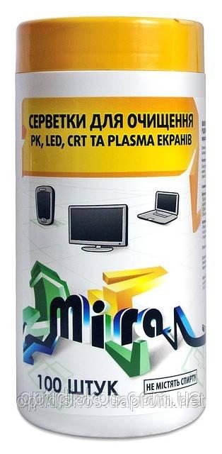 Чистящие салфетки  для TFT экранов MIRA MC2212, 100шт