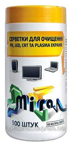 Чистящие салфетки  для TFT экранов MIRA MC2212, 100шт, фото 2