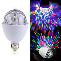 Вращающаяся разноцветная диско лампа светомузыка Е-27