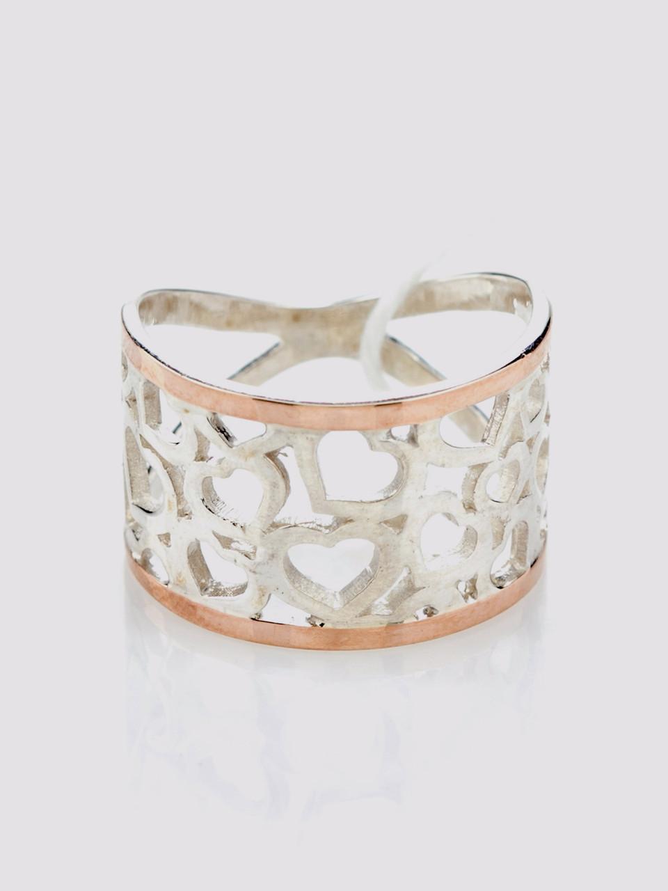 Кольцо Любовь серебро с золотом