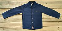 Рубашка на мальчика Турция синяя с нашивками на рукавах на 3-4 года, 4-5 лет, 5-6 лет, 6-7 лет, 7-8 лет