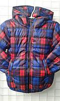 Демисезонная детская курточка в клетку, 92-116 см