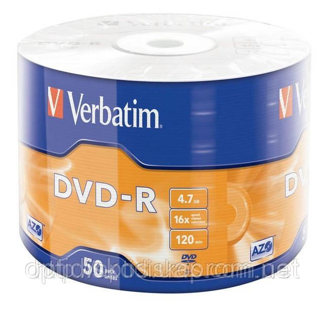 Диски DVD-R Verbatim, 4,7Gb, x16, 50 шт. на шпинделе