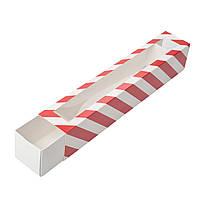 Коробка для макаронс 300х50х53 мм., красно-белая, фото 1