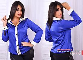 Стильная рубашка с отделкой из  шёлка Армани ТОЛЬКО 48р. КРАС,БИРЮЗ,МЯТА